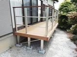 エクステリアリフォームお庭の段差解消も兼ねた物干しスペースのウッドデッキ