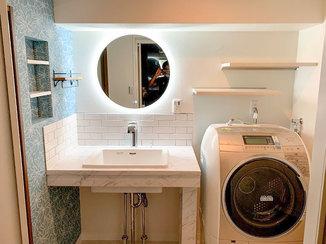 洗面リフォーム デザインを自由に選べるオシャレな造作洗面化粧台